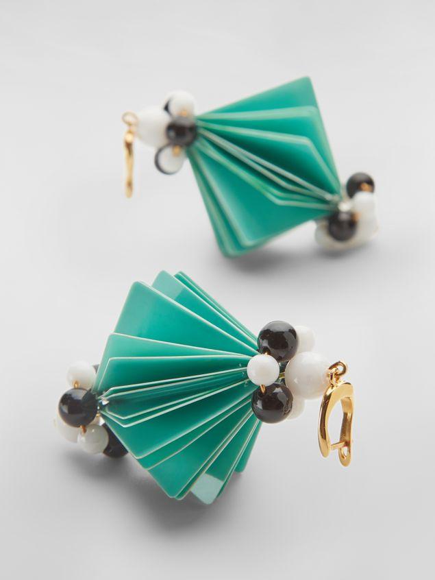 Marni FACETS hook earrings in green plastic film  Woman - 3