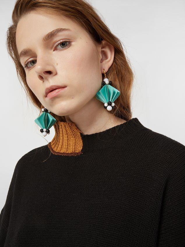 Marni FACETS hook earrings in green plastic film  Woman - 2
