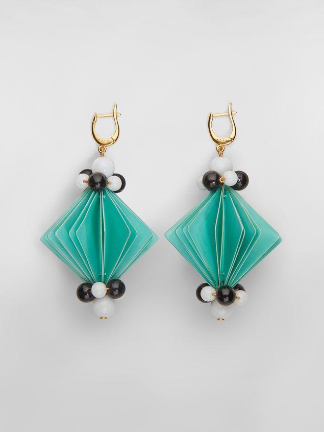 Marni FACETS hook earrings in green plastic film  Woman - 1