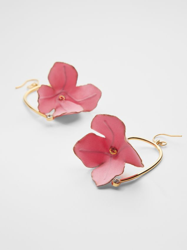 Marni FLORA earrings in fabric and rhinestone with pink flower  Woman - 3