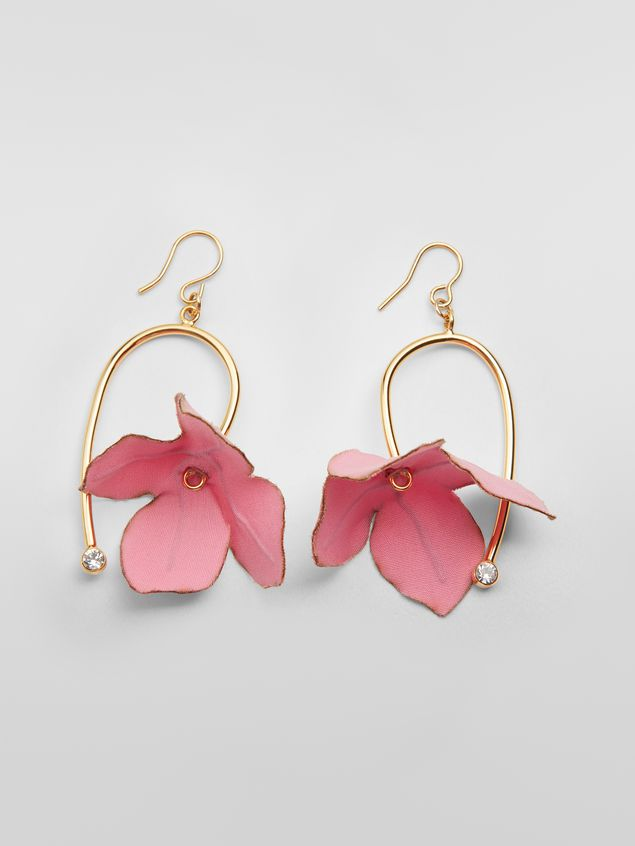 Marni FLORA earrings in fabric and rhinestone with pink flower  Woman - 1
