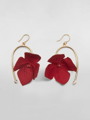 Marni FLORA earrings in fabric and rhinestones with red flower  Woman f