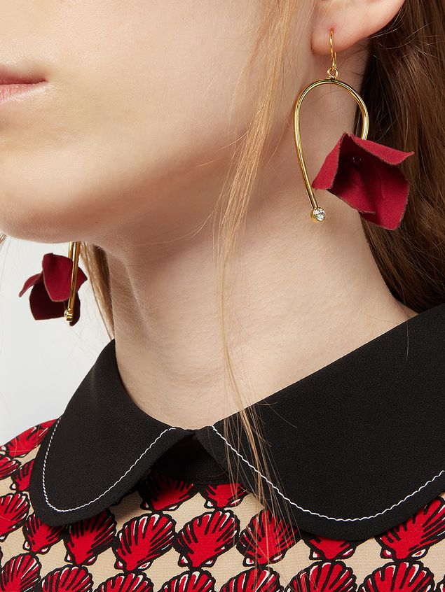 Marni Earrings in fabric and strass with flower red FLORA Woman - 2