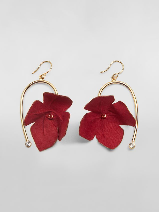 Marni FLORA earrings in fabric and rhinestones with red flower  Woman - 1