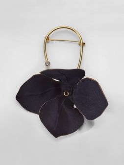 Marni FLORA brooch in fabric and rhinestones with flower  Woman