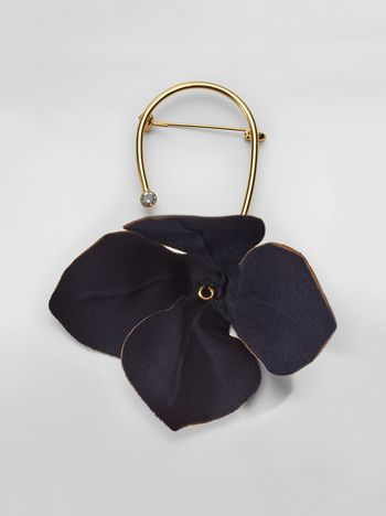Marni Brooch in fabric and strass with flower FLORA Woman