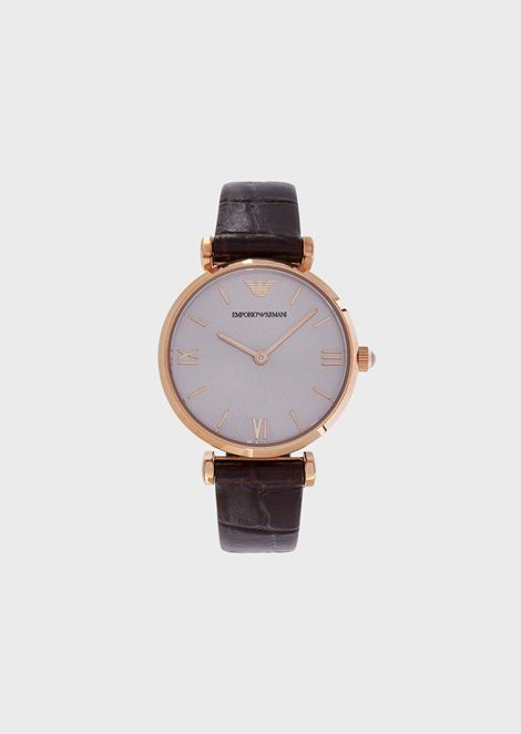 Women's quartz watch with rose-gold case and leather strap