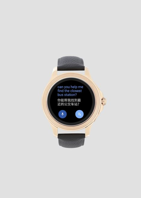 cc8bfbbc1b078 Touchscreen smartwatch with stainless-steel case leather strap