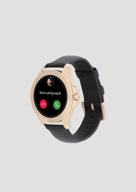 Smartwatch touchscreen con cassa in acciaio placcato grigio e cinturino in pelle