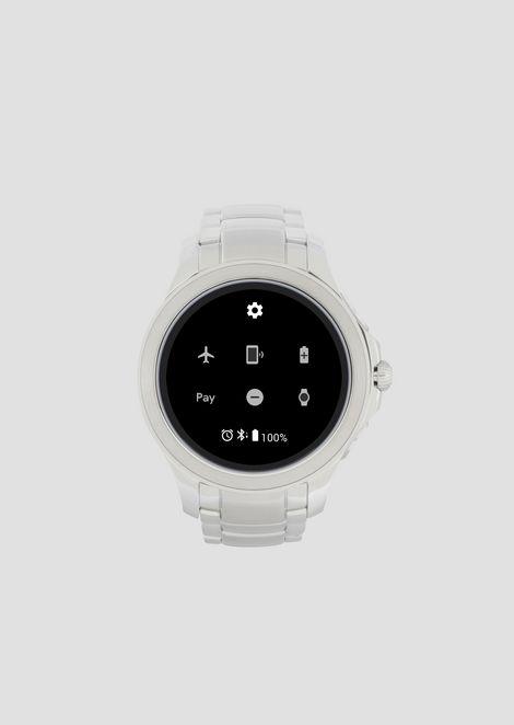Smartwatch touchscreen con cassa e bracciale in acciaio color silver