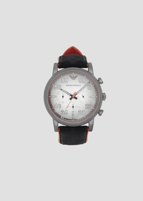 5c6671db83b Chronograph with round dial and velcro suede strap