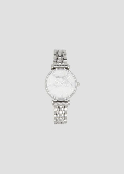 Reloj de acero con correa de tres hileras de eslabones y esfera de mármol 4bf6d271f55b