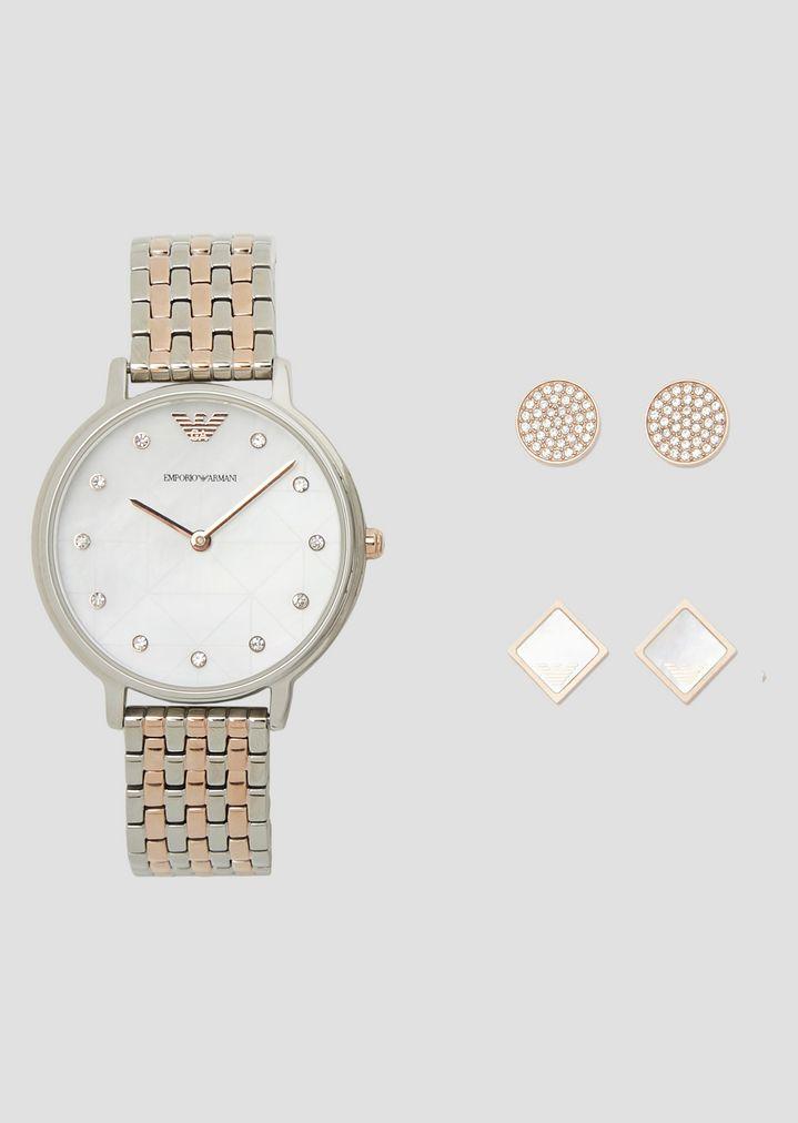 15e5281069 Geschenkset mit Kristall-Uhr und zwei Paar Ohrsteckern