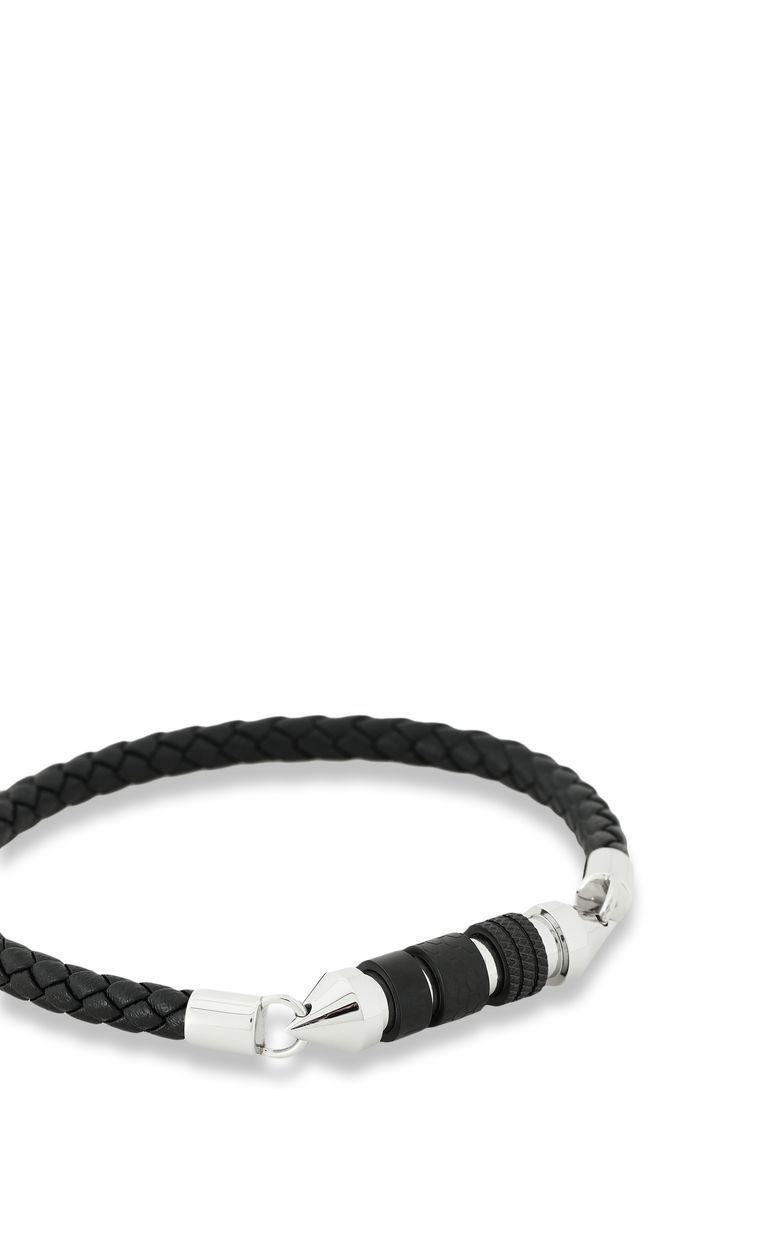 JUST CAVALLI Bracelet in braided black leather Bracelet Man d