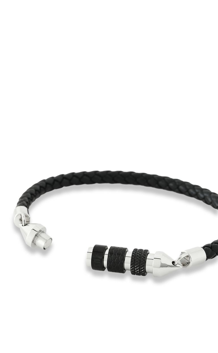 JUST CAVALLI Bracelet in braided black leather Bracelet Man e