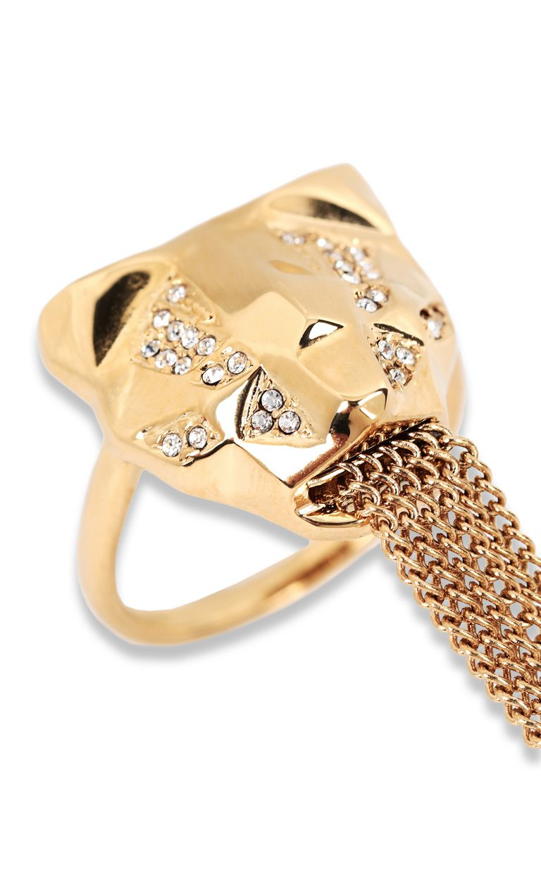 JUST CAVALLI Double ring with tiger-head detail Ring Woman d