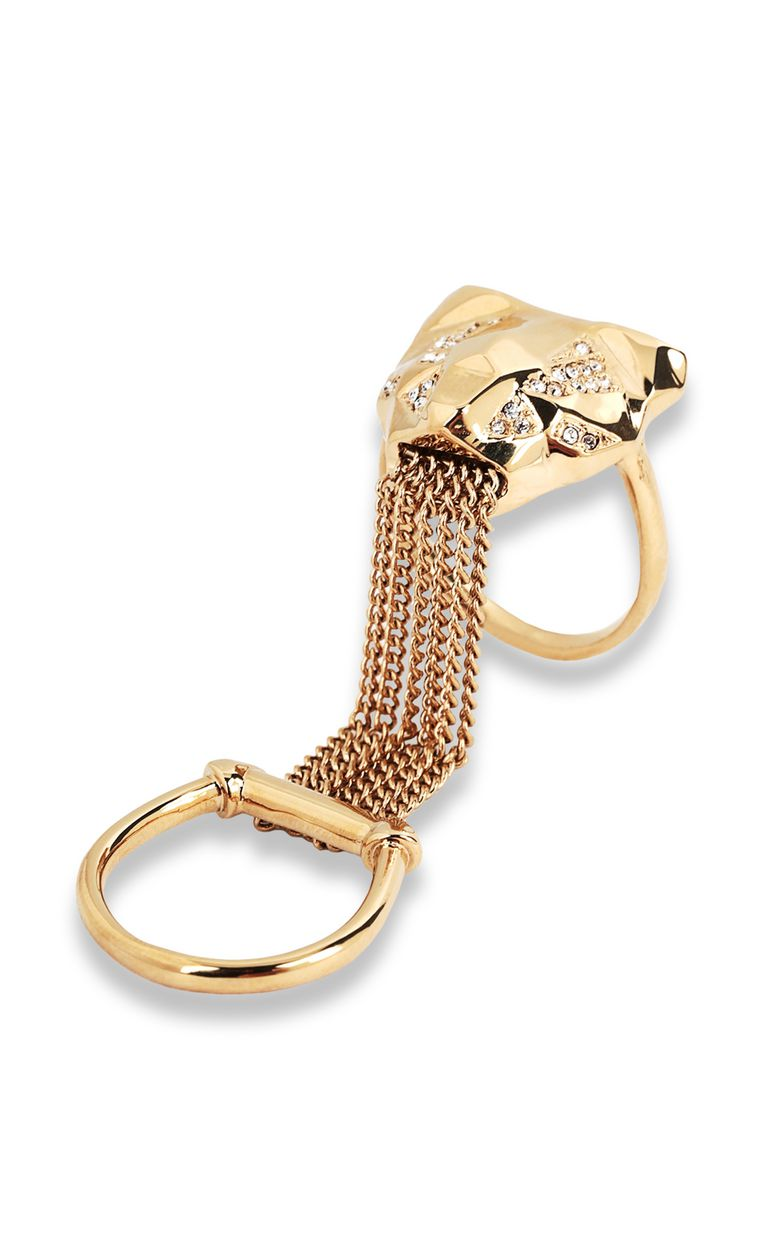 JUST CAVALLI Double ring with tiger-head detail Ring Woman f