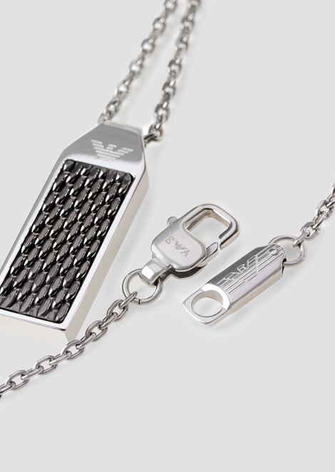 Necklace with rectangular pendant with engraved central section