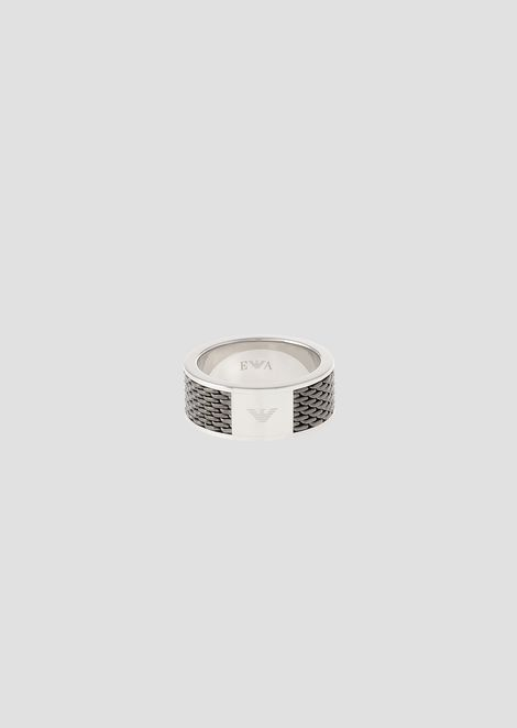 Steel mesh ring in two colors