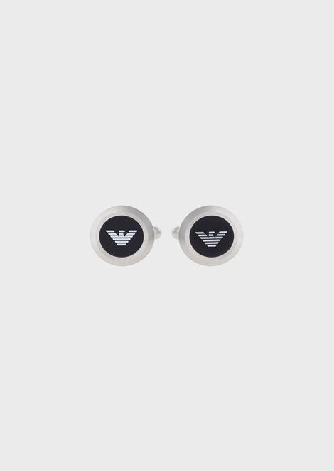Round bar cufflinks with central logo