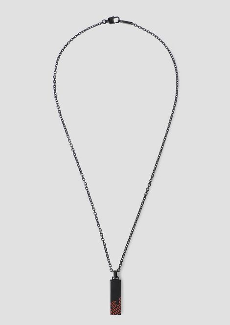 Necklace with rectangular pendant with engraved eagle