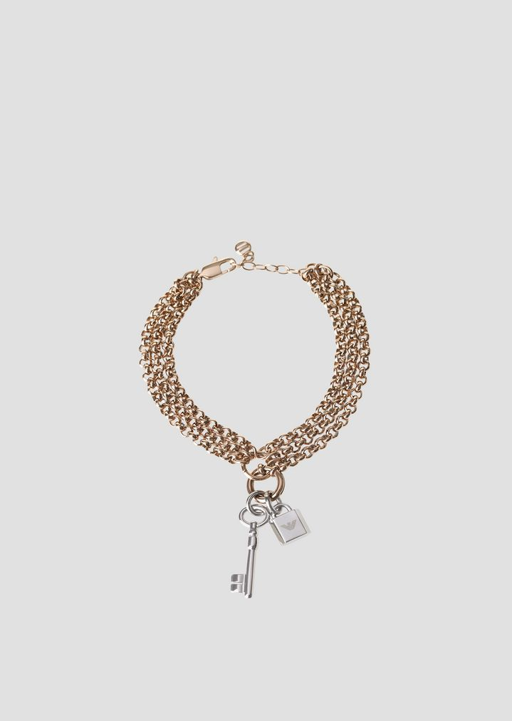 Multi Strand Bracelet With Pendants In The Shape Of A Key And Padlock Woman Emporio Armani
