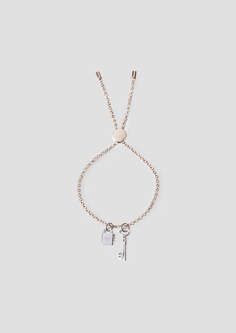 挂锁与钥匙坠饰链式编织手环