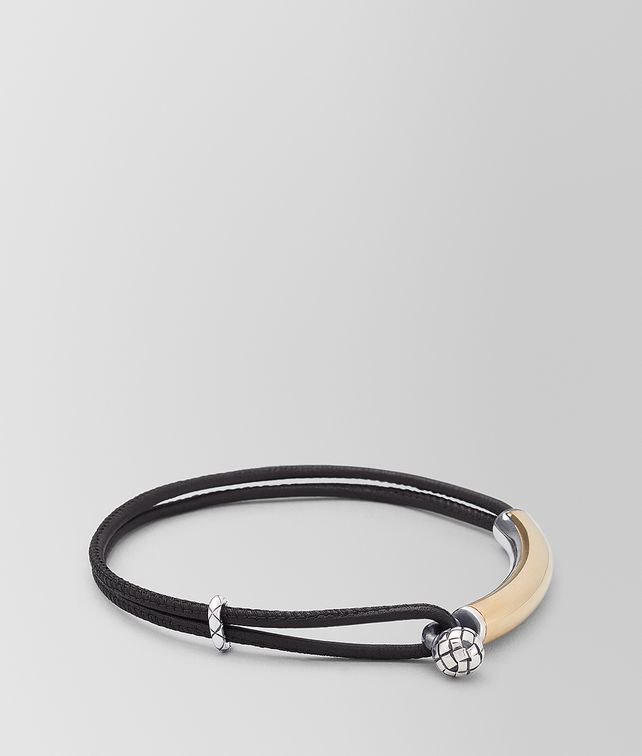 BOTTEGA VENETA BRACELET IN LEATHER AND SILVER Bracelet Man fp