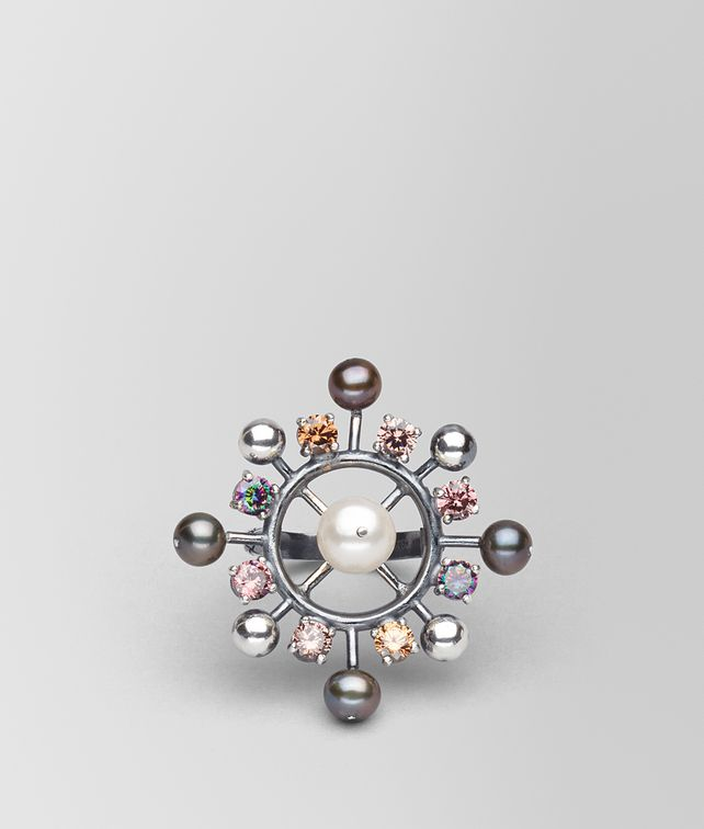 BOTTEGA VENETA RING IN PEARL AND ZIRCONIA Ring Woman fp