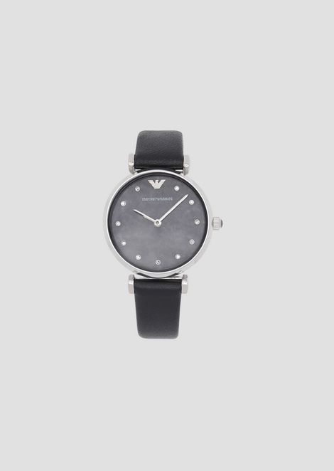 Woman two-hand leather watch