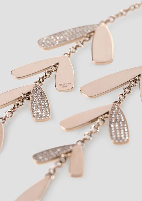 d5c725a0b31c Gliederhalskette mit abstrakten Blättern und Kristallverzierung