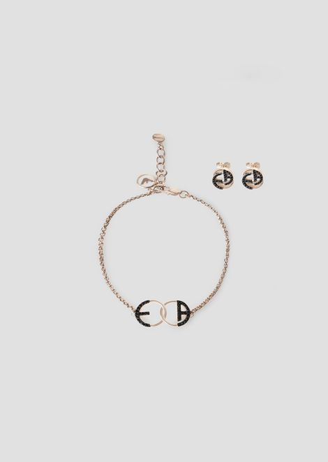 Set with bracelet and earrings in rose tone steel with crystals