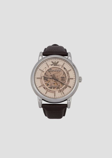 Man authomatic leather watch