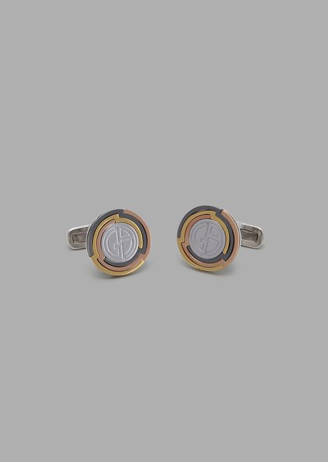 Round cufflinks in silver with two-color edge