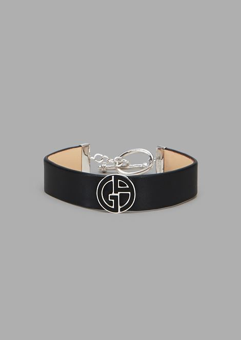 Leather band with silver GA logo