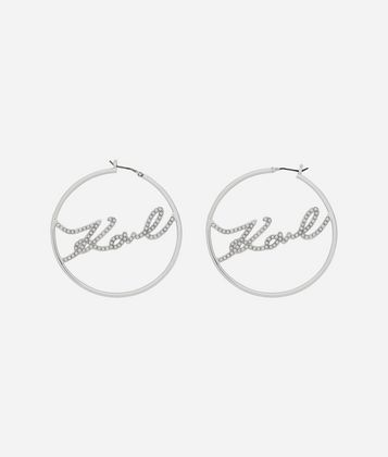KARL LAGERFELD KARL SIGNATURE HOOP EARRINGS