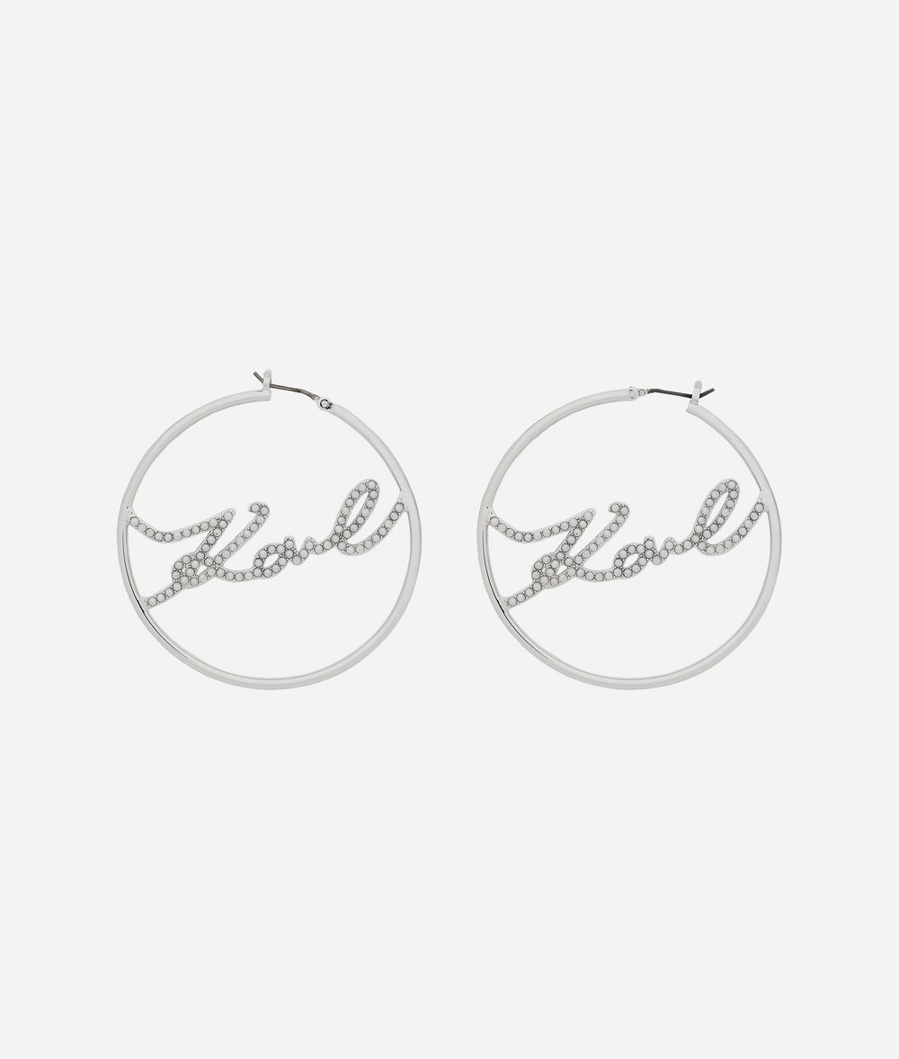 KARL LAGERFELD Karl Signature Hoop Earrings Earring Woman f