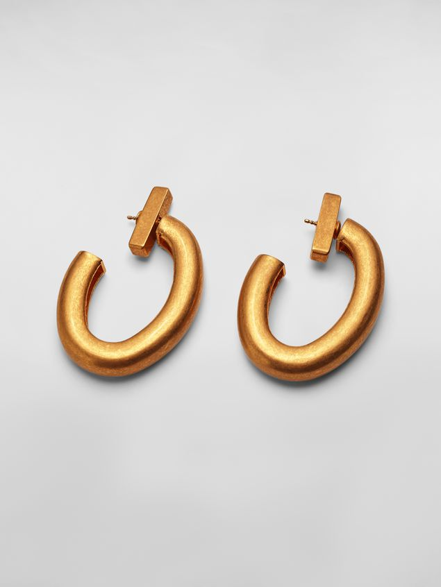 Marni Oval NATURE screw earrings in gold-tone metal  Woman - 1