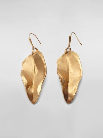 Marni Leaf NATURE hook earrings in gold-tone metal  Woman