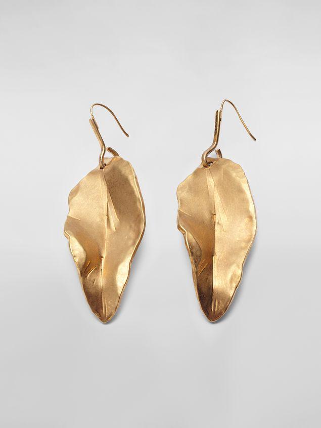 Marni Leaf NATURE hook earrings in gold-tone metal  Woman - 1