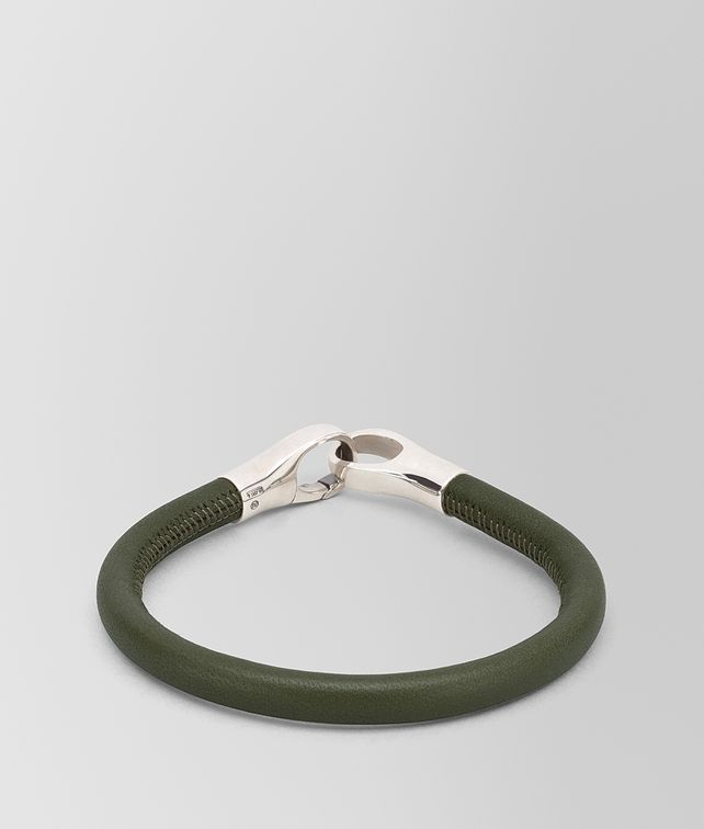 BOTTEGA VENETA BRACELET IN NAPPA AND STERLING SILVER Bracelet Man fp