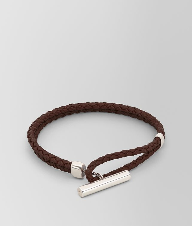 BOTTEGA VENETA BRACELET IN INTRECCIATO NAPPA AND STERLING SILVER Bracelet Man fp