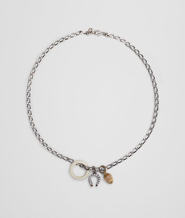 BOTTEGA VENETA CHARM NECKLACE IN STERLING SILVER, ZIRCONIA AND BONE Necklace [*** pickupInStoreShipping_info ***] fp