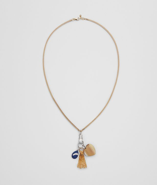 BOTTEGA VENETA CHARM NECKLACE IN STERLING SILVER, ZIRCONIA, AGATE AND ENAMEL Necklace Woman fp