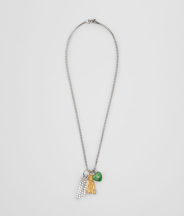 BOTTEGA VENETA CHARM NECKLACE IN STERLING SILVER, ZIRCONIA AND ENAMEL Necklace [*** pickupInStoreShipping_info ***] fp