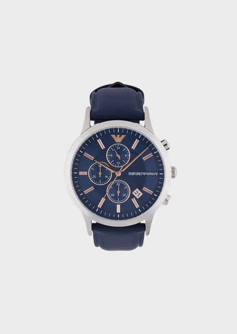 Man chronograph leather watch
