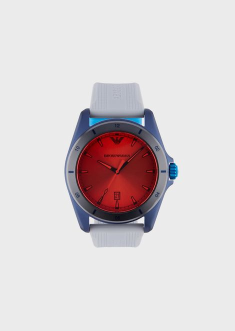 Man three-hands silicone watch
