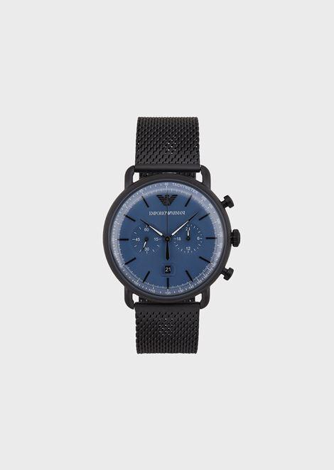 Montre chronographe en acier inoxydable pour homme