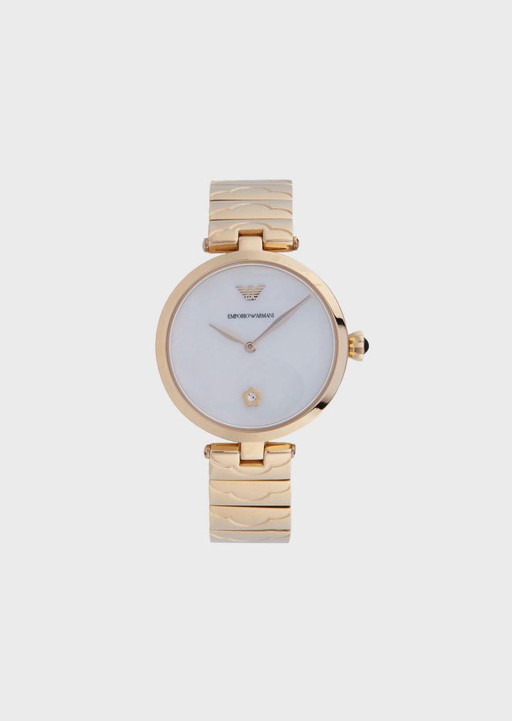 77cc3aa21864 Reloj de acero inoxidable con dos manecillas para mujer