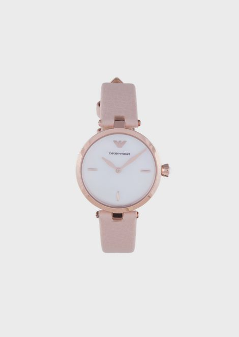 Woman two-hands leather watch